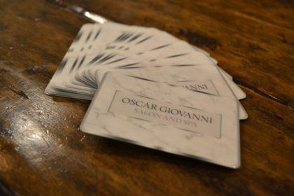 Oscar Giovanni Salon & Spa Gift Cards Flat Lay on Front Desk